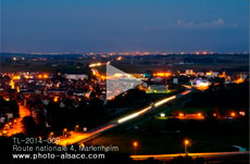 Timelapse : Circulation automobile sur le contournement de Marlenheim et la route nationale 4 en direction de Strasbourg la nuit