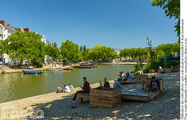 Photo : L'Erdre, Quai Ceineray, Nantes, Loire-Atlantique (44) - (ref. 180625-068) © Jean Isenmann