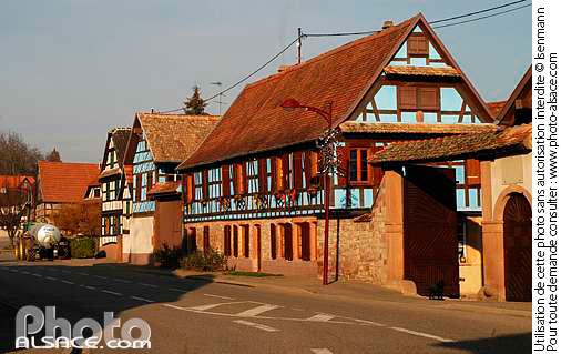 Ferme et rue de Blaesheim, Bas-Rhin (67)