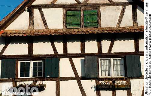 Detail d'un facade de maison Alsacienne, Blaesheim, Bas-Rhin (67)