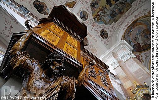 Plafond baroque de l'Abbatiale Saint-Maurice, Ebersmunster, Bas-Rhin (67)
