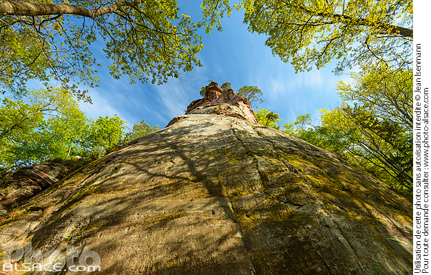 Photo : Wolfsfelsen climbing rock, Belle Vue rock is at the top