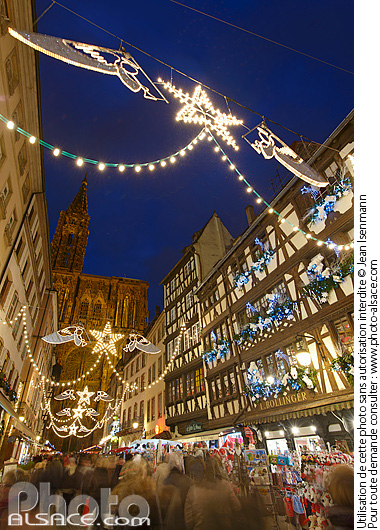 Illumination de No�l, Rue Merci�re, Strasbourg, Bas-Rhin (67)