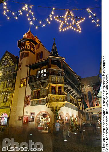 Maison Pfister et illumination de No�l, Rue des Marchands, Colmar, Haut-Rhin (68)
