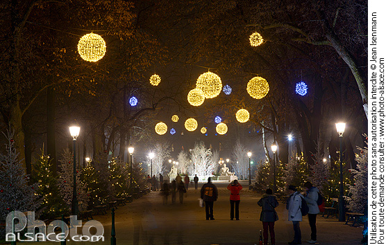 D�coration et illumination de No�l, Parc du Champ de Mars, Colmar, Haut-Rhin (68)
