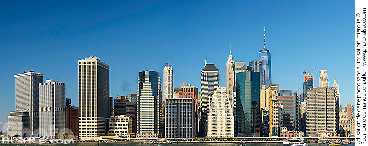 Photo : Financial District et Lower Manhattan vue depuis Brooklyn Heights Promenade, Brooklyn, New York, Etats-Unis - (ref. 171031-065) © Jean Isenmann