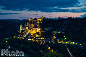 Photo : Rocamadour la nuit, Haut-Quercy, Lot (46)