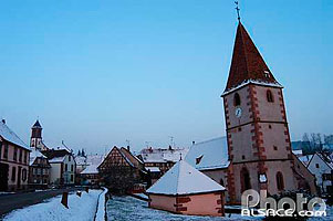Photo : Eglise Protestante de Weiterswiller en hiver, Bas-Rhin (67), Alsace, France