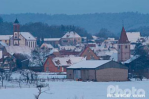 Photo : Village de Weiterswiller en hiver, Bas-Rhin (67)