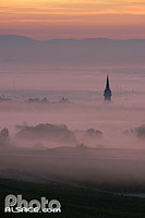 Photo : Clocher de l'église de Bernardswiller dans la brume, Bas-Rhin (67), Alsace, France