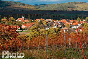 Photo : Le village de Traenheim depuis le vignoble, Bas-Rhin (67)