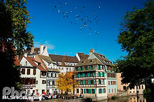 Photo : Quai de la Bruche au bords de l'Ill, Quartier de la Petite France, Strasbourg, Bas-rhin (67), Alsace, France