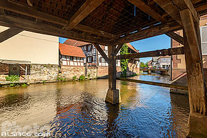 Photo : Lavoir municipal sur la Sauer, Woerth, Bas-Rhin (67)