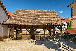 Photo : Lavoir municipal sur la Sauer, Woerth, Bas-Rhin (67), Alsace, France