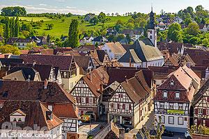Vue de Woerth depuis le sommet de la tour du Château de Woerth, Woerth, Bas-Rhin (67), Alsace, France
