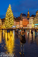 Photo : Touriste prenant une photo au smartphone de l'illumination du Grand Sapin de Noël de Strasbourg, Place Kléber, Strasbourg, Bas-Rhin (67), Alsace, France