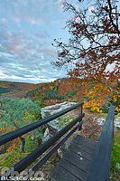 Rocher du Saut du Chien (Hundsprung) en automne, Neuwiller-lès-Saverne, Parc naturel régional des Vosges du Nord, Bas-Rhin (67), Alsace, France