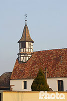 Photo : Clocher à colombage, Chapelle de la Vierge, Hindisheim, Bas-Rhin (67)