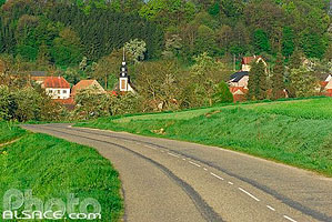 Photo : Route D96 et église de Thal-Drulingen, Alsace Bossue, Bas-Rhin (67), Alsace, France