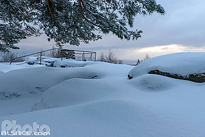 Photo : Rocher du Maennelstein en hiver, La Bloss, Barr, Bas-Rhin (67), Alsace, France