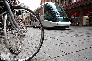 Photo : Rame de tramway, Rue des Francs Bourgeois, Strasbourg, Bas-Rhin (67), Alsace, France