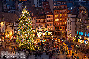 Photo : Illumination du grand sapin de Noël, Place Kléber, Strasbourg, Bas-Rhin (67)