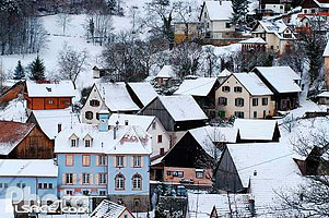 Photo : Village de Hohrod en hiver, Vallée de Munster, Haut-Rhin (68), Alsace, France
