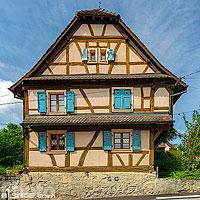 Maison alsacienne à pan de bois, Obermorschwiller, Sundgau, Haut-Rhin (68), Alsace, France