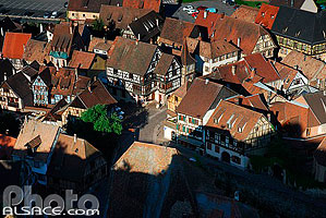 Photo : Maisons alsacienne au centre du village de Kaysersberg, Haut-Rhin (68)