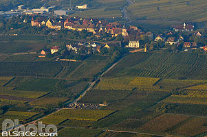 Photo : Vignoble et village de Zellenberg, Haut-Rhin (68), Alsace, France