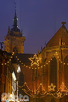 Photo : Eglise Saint-Martin et illumination de Noël, Rue de l'église, Colmar, Haut-Rhin (68)