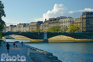 Photo : Quai de Jussieu, Pont de Sully et l'île Saint-Louis, Paris (75005), Ile-de-France, France