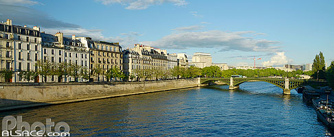 Photo : La Seine, Quai de Béthune et le Pont de Sully, Paris (75004), Ile-de-France, France