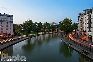 Photo : Canal Saint-Martin la nuit, Paris (75)