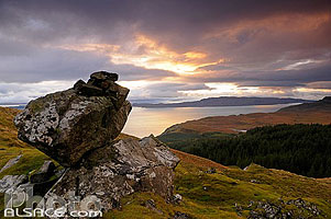 Sound of Raasay depuis Old Man of Storr, Isle of Skye, Highlands, Scotland, United Kingdom