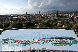 Photo : Table d'orientation et vue sur Firenze, Toscane, Italie, Toscane, Italie