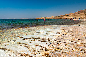 Photo : Dépôts de sel sur les rives de la Mer Morte, Madaba, Jordanie, Madaba, Jordanie