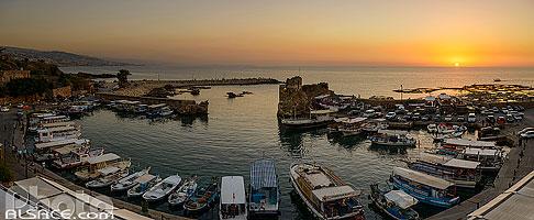 Port de pêches de Byblos au coucher de Soleil, Jbeil, Mont-Liban, Liban, Mont-Liban, Liban