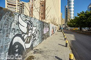 Graffiti de Goldorak (Grendizer) sur un mur de la rue Dunant, Ras Beyrouth, Beyrouth, Liban, Beyrouth, Liban