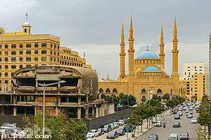 Photo : Dôme du City Center (The Egg) et Mosquée Mohammad Al Amine, Bachoura, Beyrouth, Liban