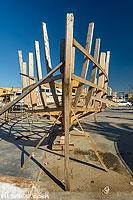 Construction d'un bateau dans le port de pêche de Tyr, Tyr (Sour), Liban-Sud, Liban, Liban-Sud, Liban