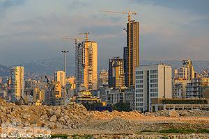 Immeubles et gratte-ciels de Beyrouth Est vue depuis le nouveau secteur du port, Marfaa, Beyrouth, Liban, Beyrouth, Liban