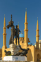 Photo : Statue des Martyrs et Mosquée Mohammad Al Amine, Beyrouth, Place des Martyrs, Marfaa, Beyrouth, Liban