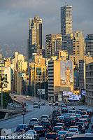 Embouteillage sur l'autoroute 51M et immeubles de Beyrouth Est, Avenue Général Fouad Chéhab, Beyrouth, Liban, Beyrouth, Liban