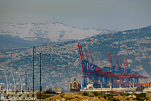 Photo : Grues portuaires du port de Beyrouth, Marfaa, Beyrouth, Liban