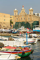 Photo : Port de Batroun et la cathédrale maronite Saint-Etienne (Mar Estephan), Batroun, Liban-Nord, Liban, Liban-Nord, Liban