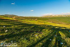 Déchets plastiques dans l'herbe et paysage du sud du Liban avec le Mont Hermon au printemps en arrière plan, Mahmoudiyeh, Liban-Sud, Liban, Liban-Sud, Liban