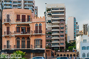 Photo : Immeuble traditionnel sur la corniche de Beyrouth, Dar Mreisse, Beyrouth, Liban
