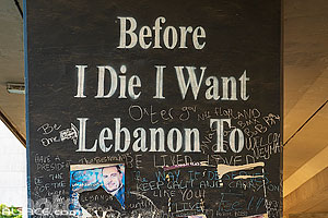 Photo : Street Art sous le Ring de Beyrouth (Before I Die I Want Lebanon To), Saifi, Beyrouth, Liban