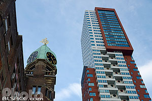 Photo : Hôtel New York et gratte-ciel Montevideo, Wilhelminapier, Rotterdam, Zuid-Holland, Pays-Bas